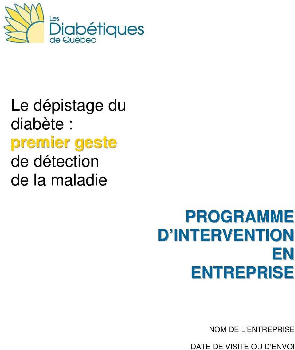 PROGRAMME D INTERVENTION EN