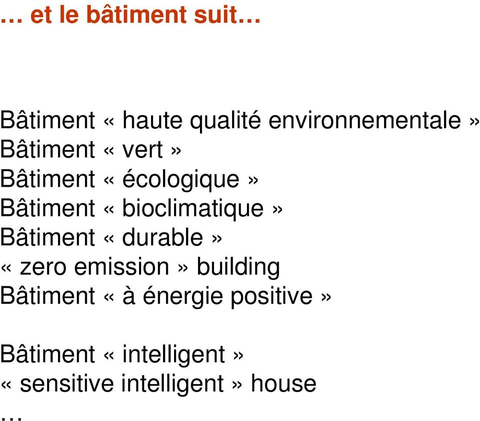 Bâtiment «durable» «zero emission» building Bâtiment «à