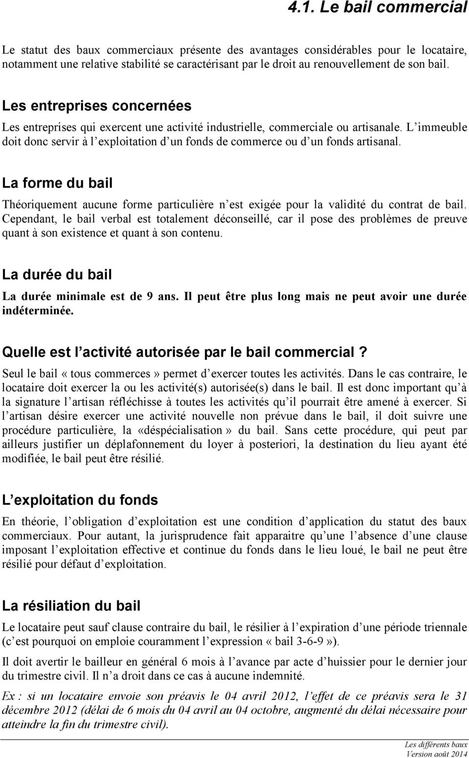 Stage De Preparation A L Installation 4 Les Differents Baux Pdf