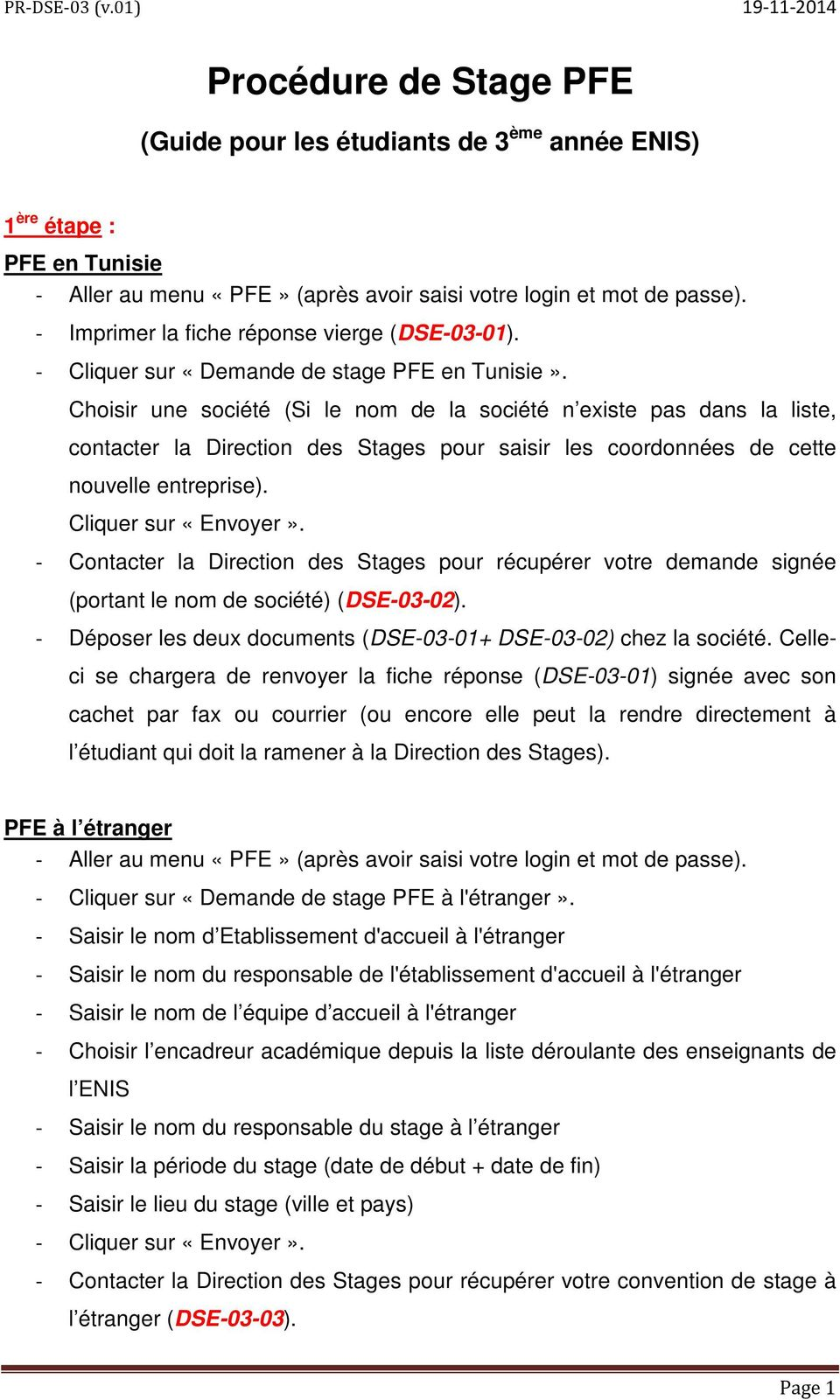 Procédure De Stage Pfe Pdf Free Download