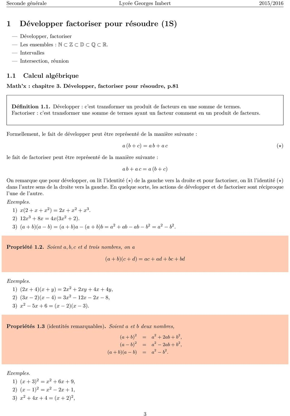 Notes De Cours De Mathematiques En Seconde Generale O Lader Pdf