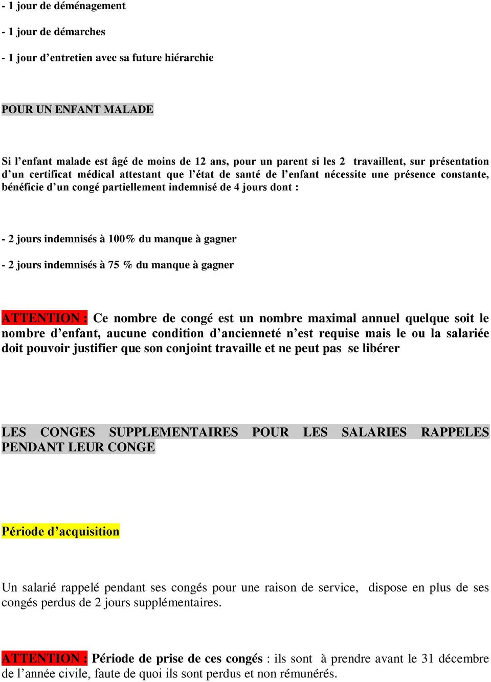 Conges Speciaux Conges Supplementaires Conges Divers Pdf