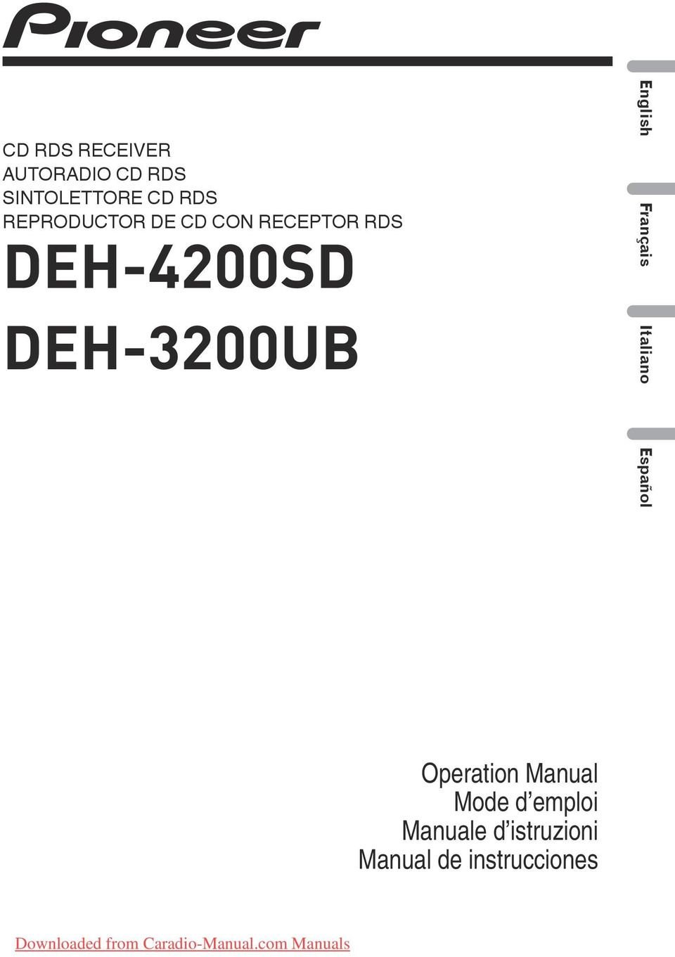 Italiano Español Operation Manual Mode d emploi Manuale d