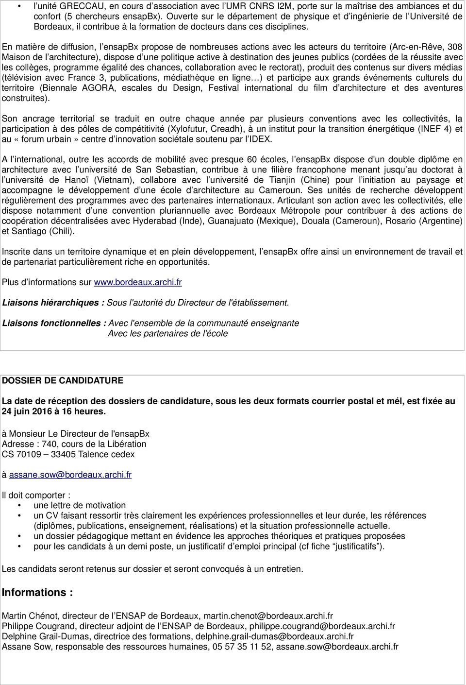 Fiche De Poste Recrutement Maitre Assistant Associe Ecole Nationale