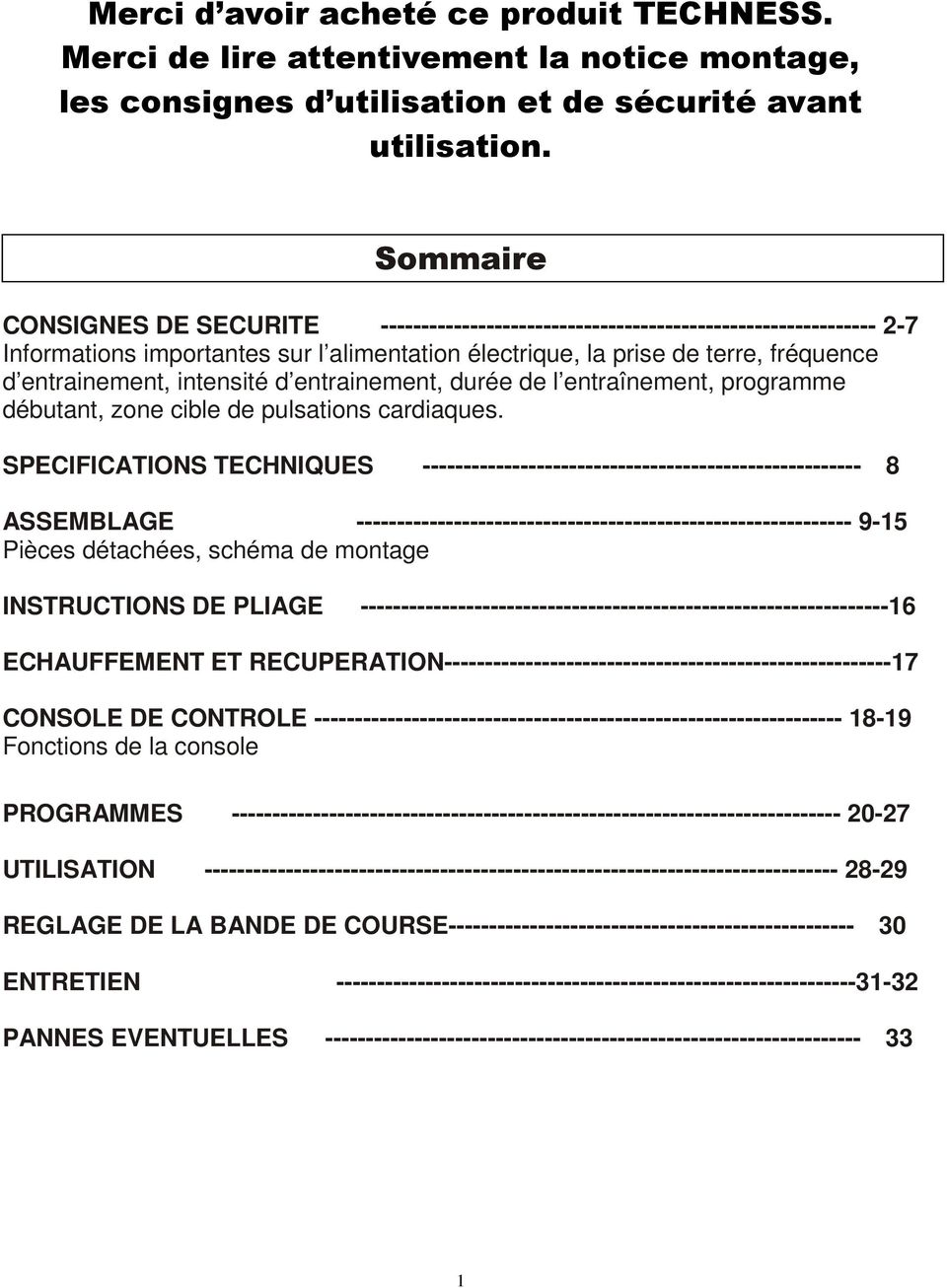 Notice D Utilisation Tapis De Course Techness Run Pdf