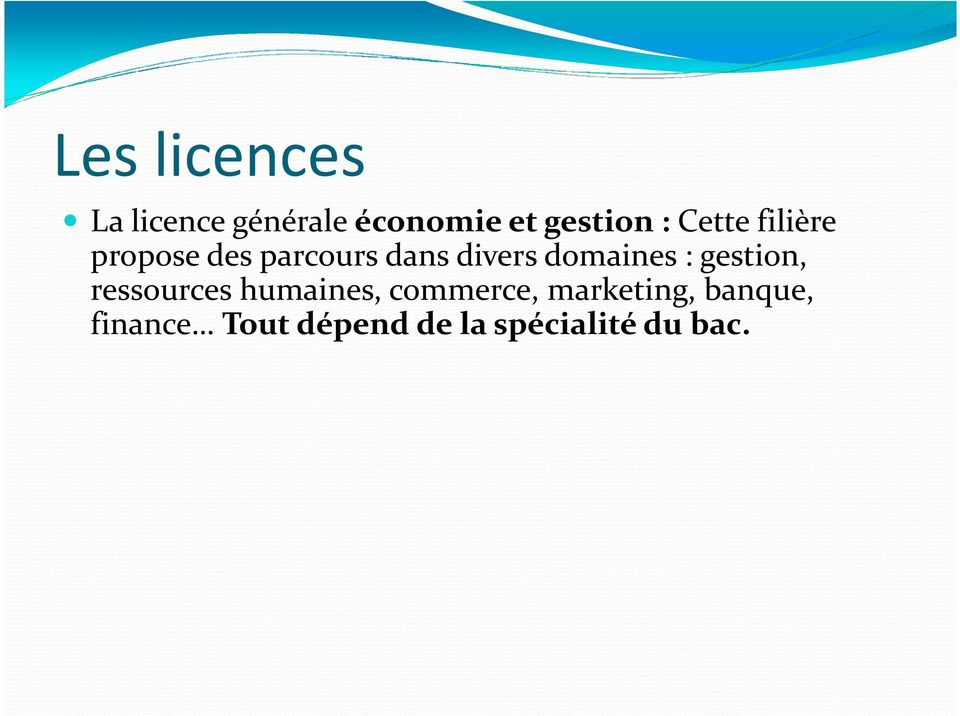 domaines : gestion, ressources humaines, commerce,