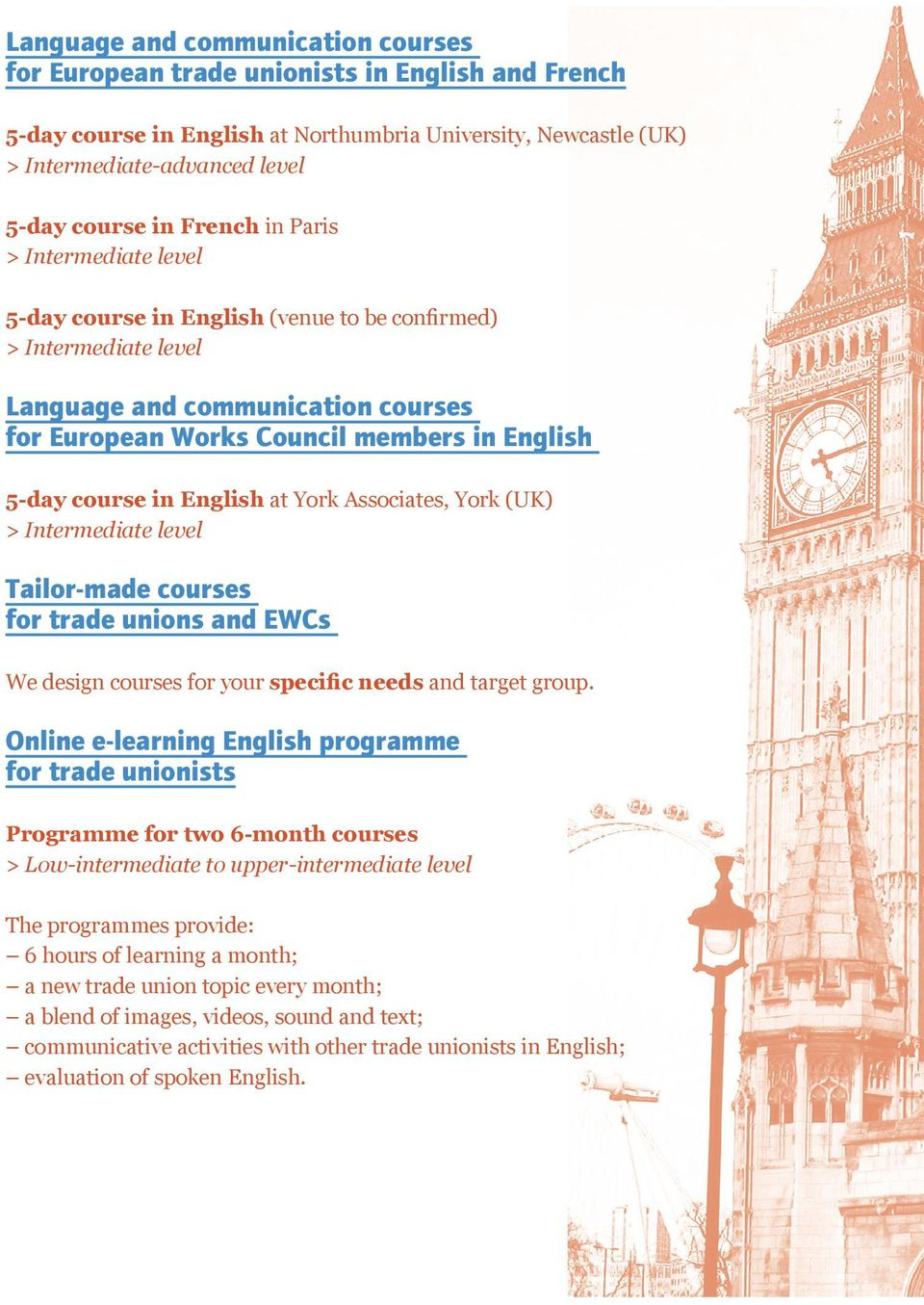 in English at York Associates, York (UK) > Intermediate level Tailor-made courses for trade unions and EWCs We design courses for your specific needs and target group.