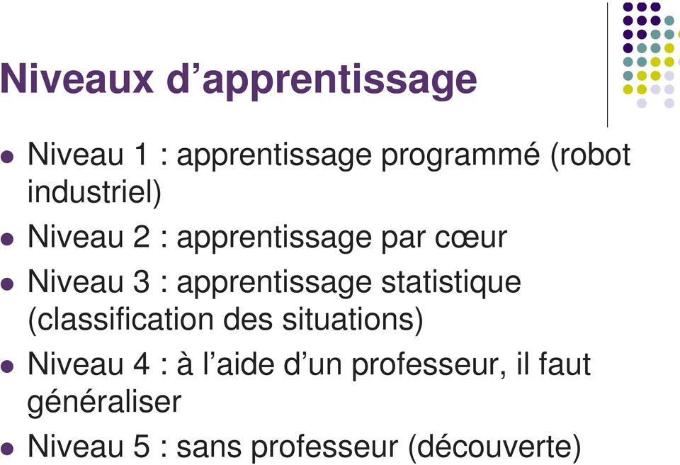 apprentissage statistique (classification des situations) Niveau 4 :