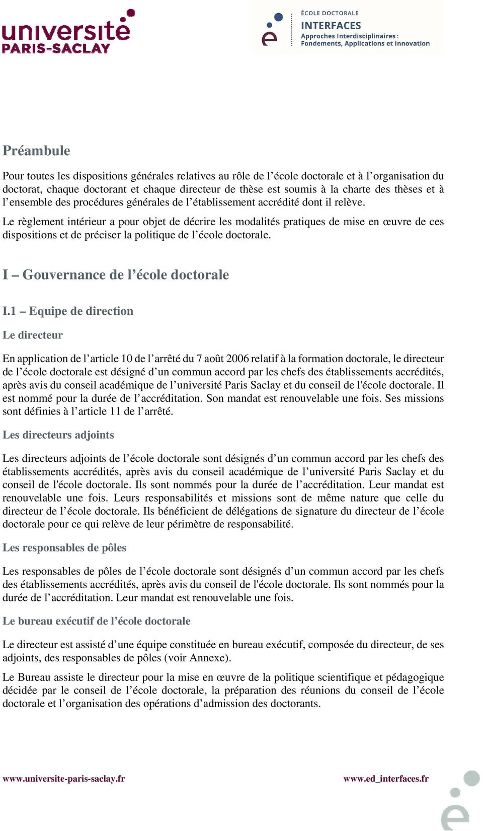 Reglement Interieur De L Ecole Doctorale Interfaces Pdf