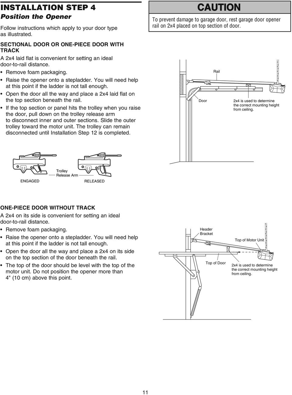 Door Opener Reinforcement Bracket On Garage Motor Diagram Model 3850pc Pdf You Will Need Help At This Point If The Ladder Is Not Tall Enough Open