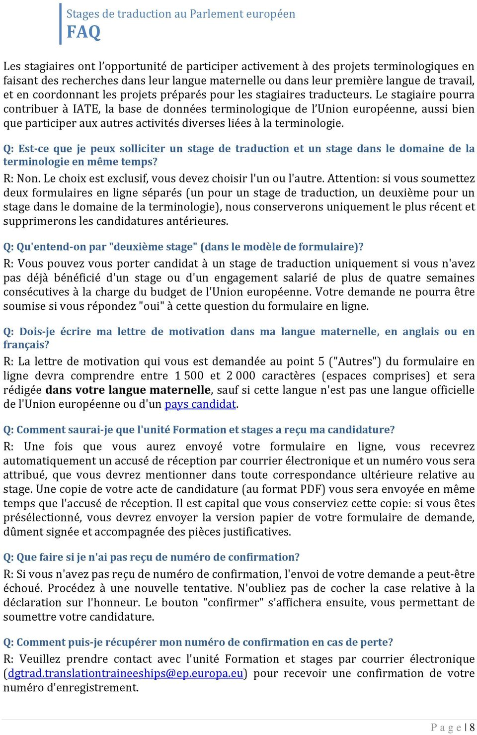 Stages De Traduction Au Parlement Européen Faq Pdf Free