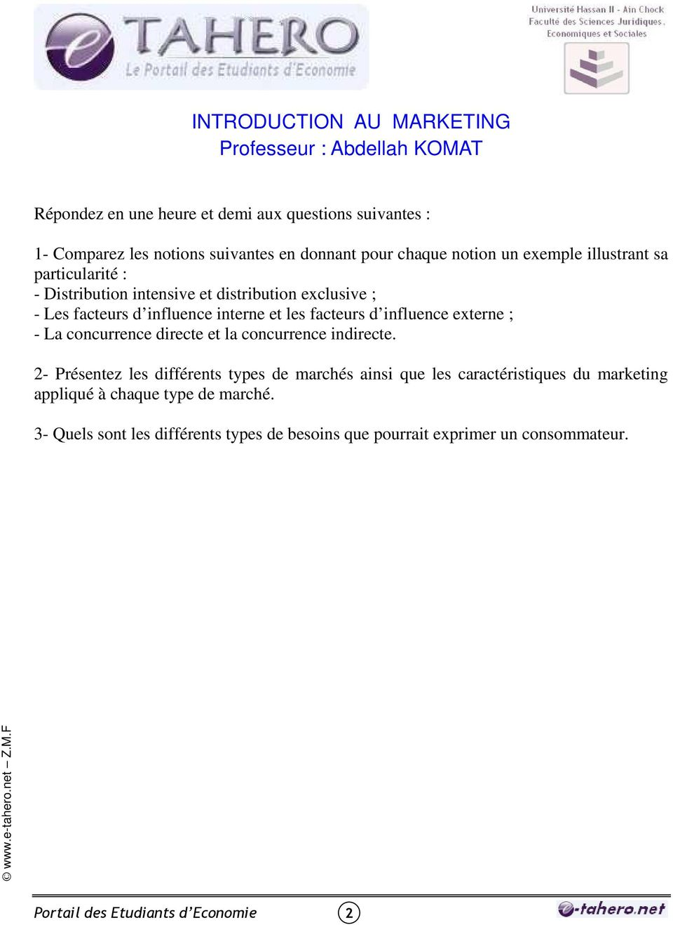 Introduction Au Marketing Professeur Abdellah Komat Pdf