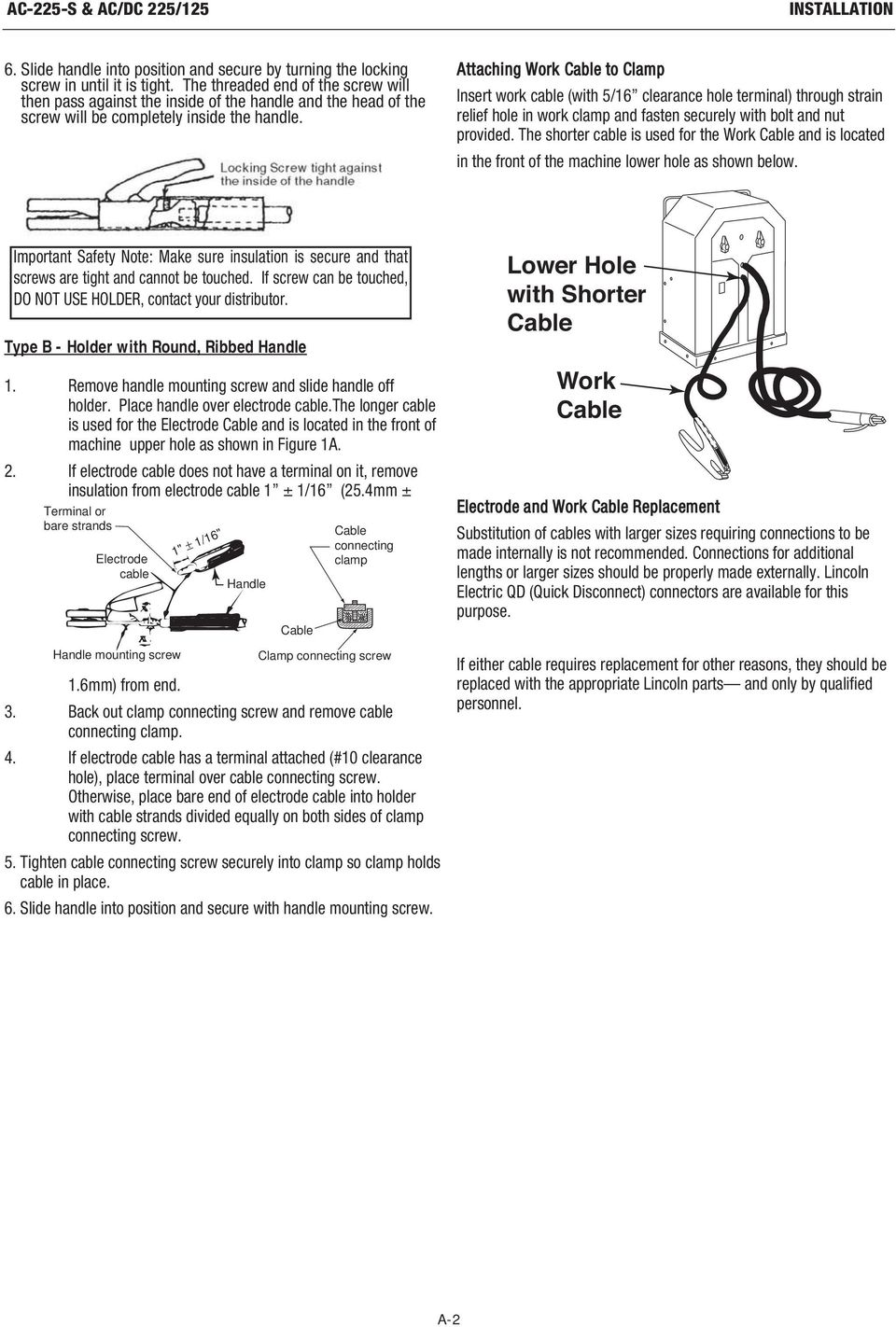 Ac 225 S Dc 125 Pdf Lincoln Wiring Diagram Attaching Work Cable To Clamp Insert With 5 16 Clearance Hole Terminal