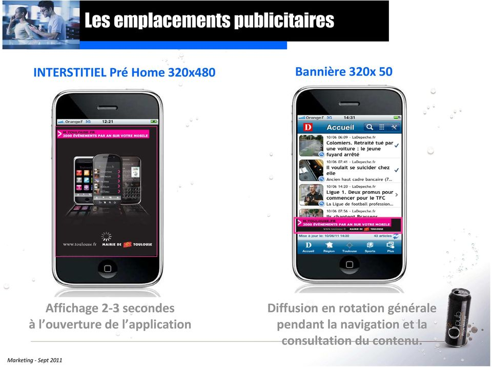 ouverture de l application Diffusion en rotation