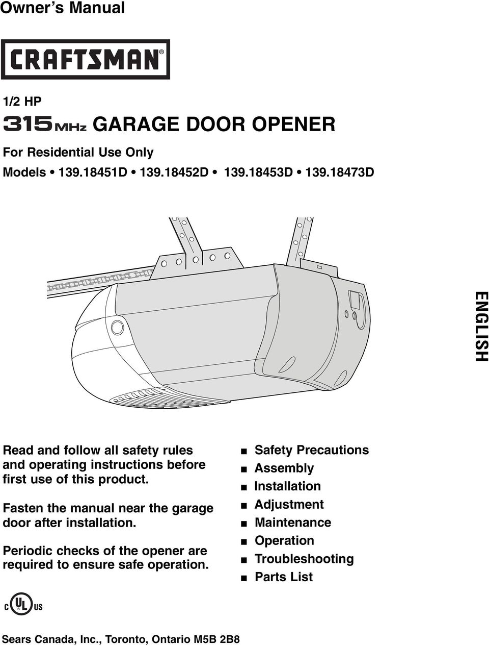 Garage Door Opener Owner S Manual English 1 2 Hp For Residential Fisher Connector Fuse Box Fasten The Near After Installation