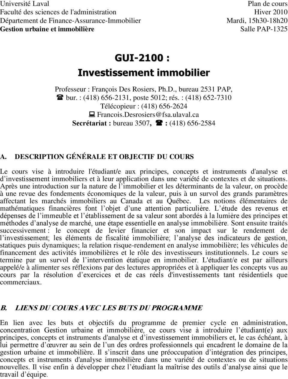 investissement immobilier ulaval