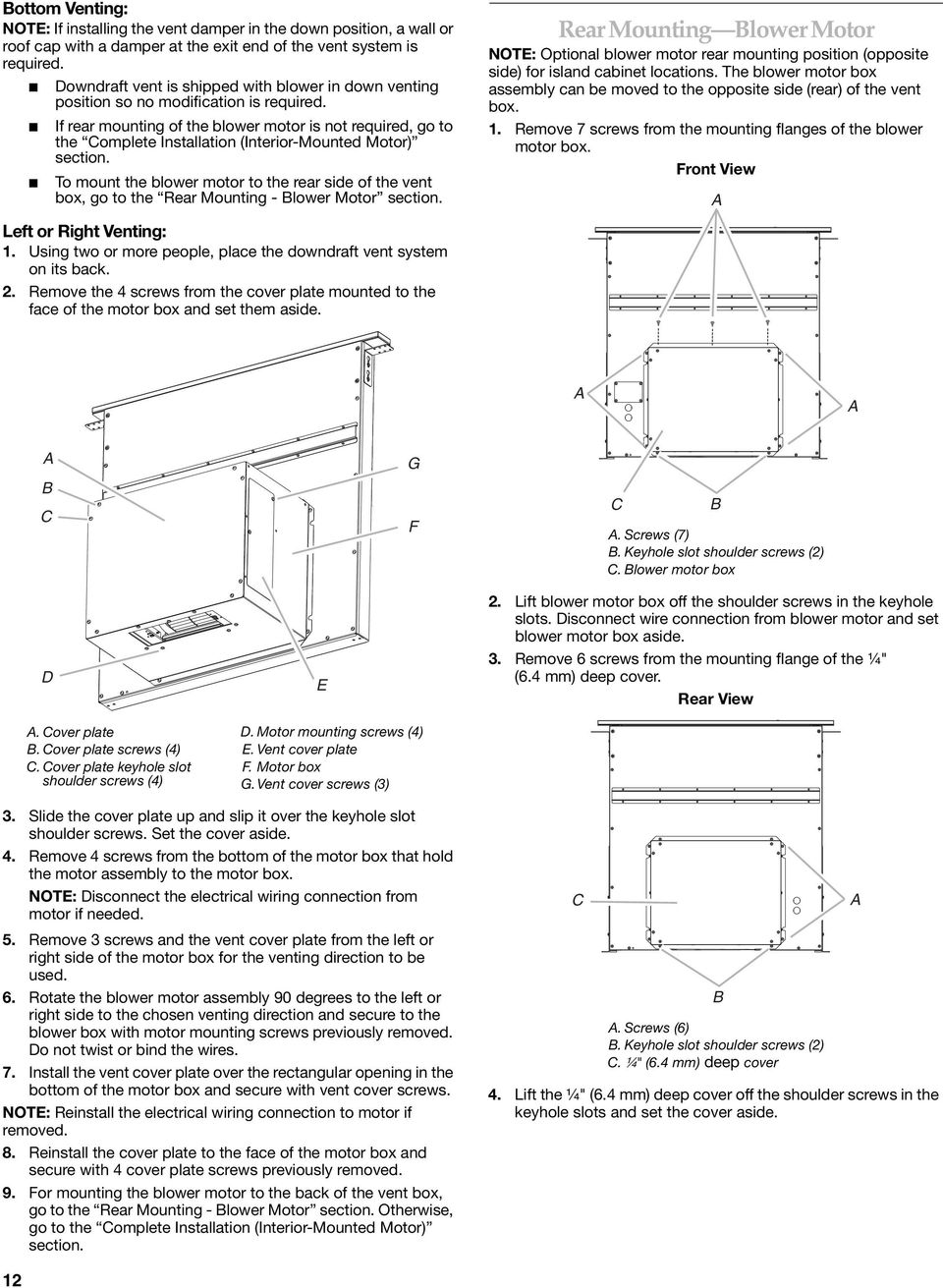 30 762 Cm And 36 914 Retractable Pop Up Downdraft Vent Disconnect Electrical Motor Connection Diagram If Rear Mounting Of The Blower Is Not Required Go To Omplete Installation