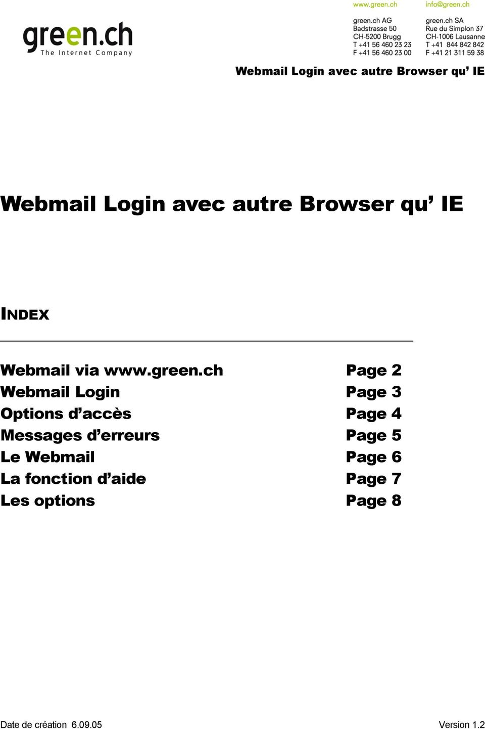 ch Page 2 Webmail Login Page 3 Options d accès Page 4