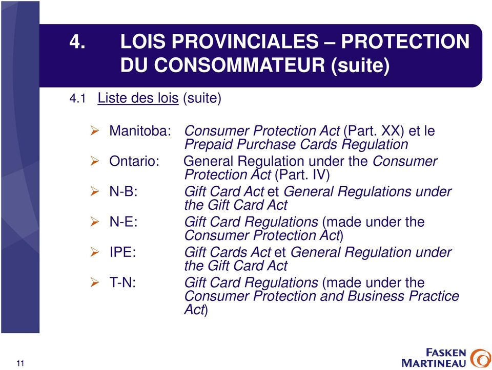 XX) et le Prepaid Purchase Cards Regulation General Regulation under the Consumer Protection Act (Part.