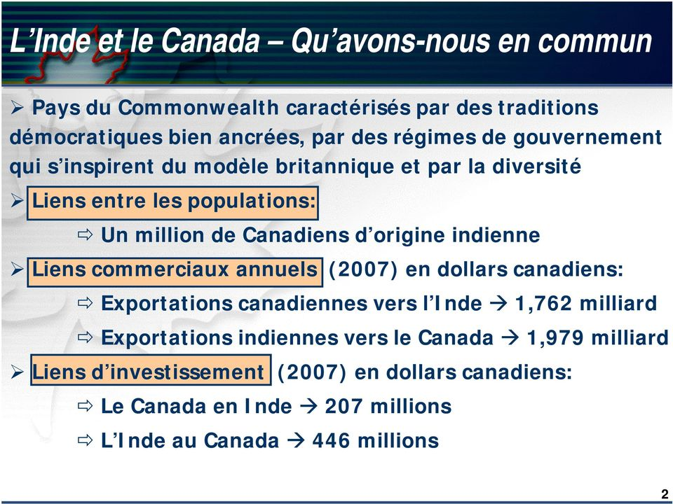 indienne Liens commerciaux annuels (2007) en dollars canadiens: Exportations canadiennes vers l Inde 1,762 milliard Exportations indiennes
