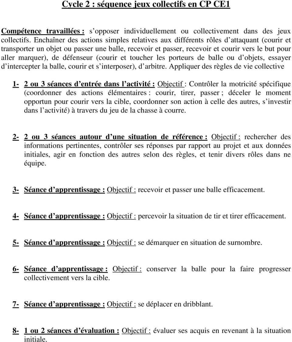Cycle 2 Sequence Jeux Collectifs En Cp Ce1 Pdf Free Download