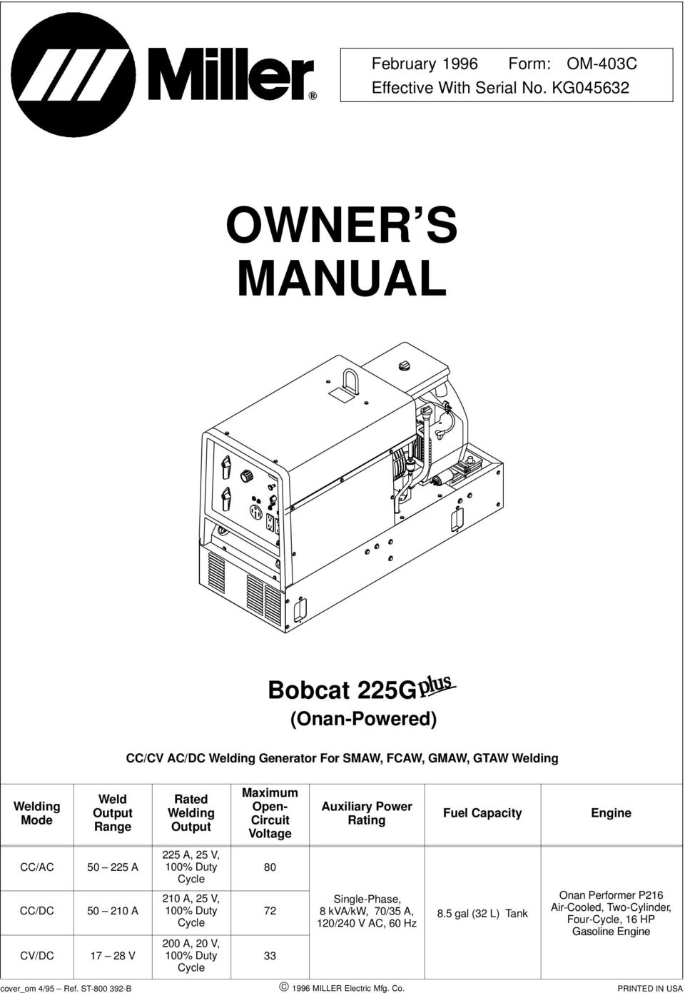 Owner S Manual Bobcat 225g Onan Powered Cc Cv Ac Dc Welding Generator Diagram Output Maximum Open Circuit Voltage Auxiliary Power Rating Fuel Capacity Engine