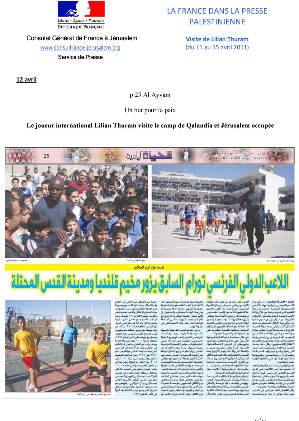LA FRANCE DANS LA PRESSE PALESTINIENNE - PDF Free Download