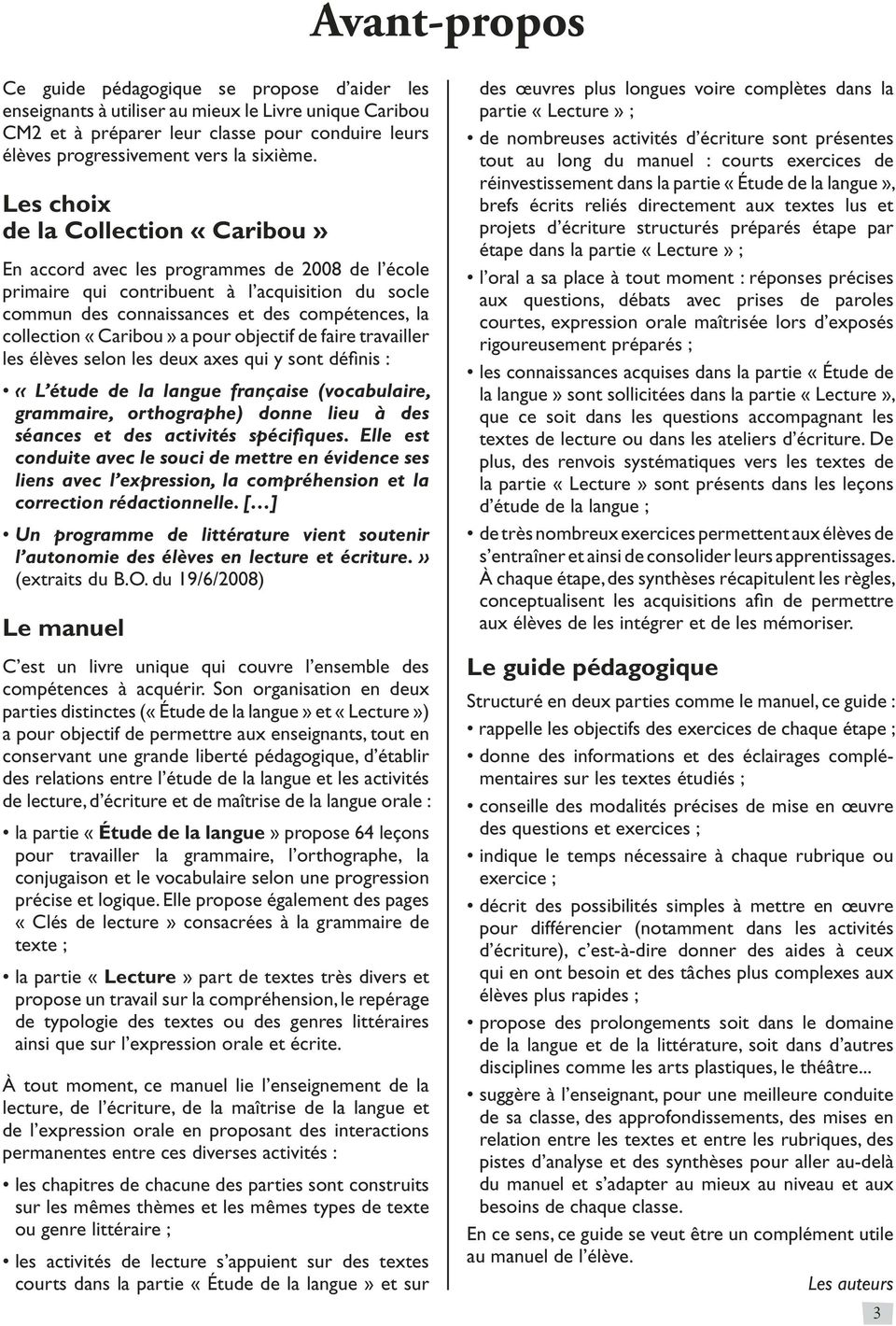 Francais Cm2 Collection Caribou Guide Pedagogique Cycle 3