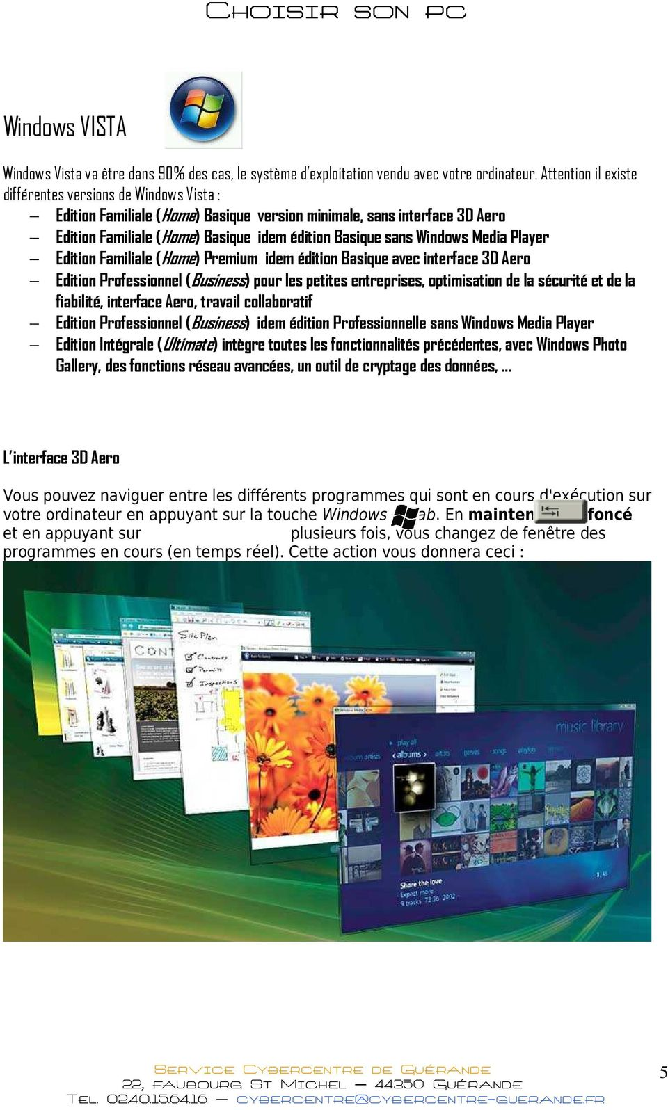 Windows Media Player Edition Familiale (Home) Premium idem édition Basique avec interface 3D Aero Edition Professionnel (Business) pour les petites entreprises, optimisation de la sécurité et de la