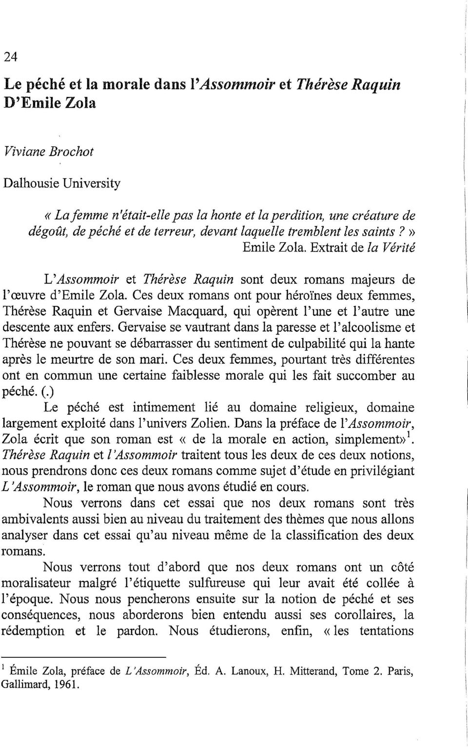 dissertation assommoir zola