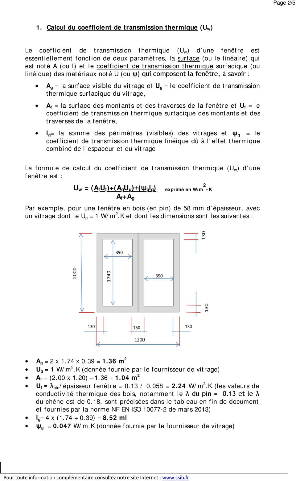 Calcul Du Coefficient De Transmission Thermique Uw Et Du Facteur