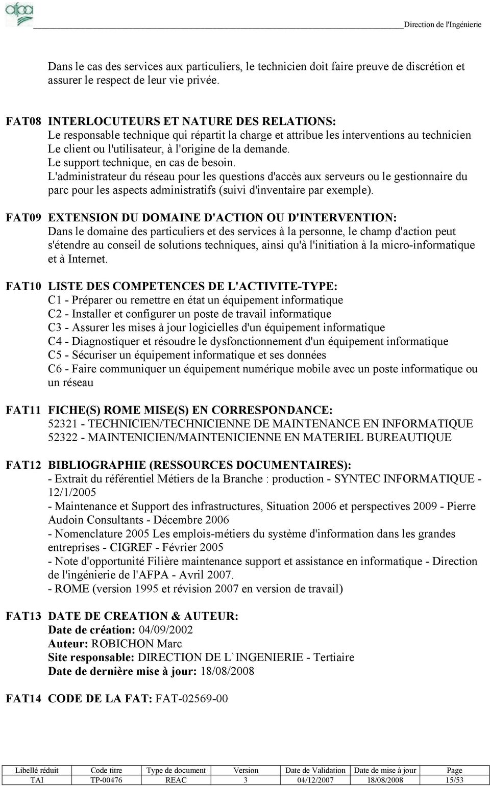 technicien support informatique fiche metier