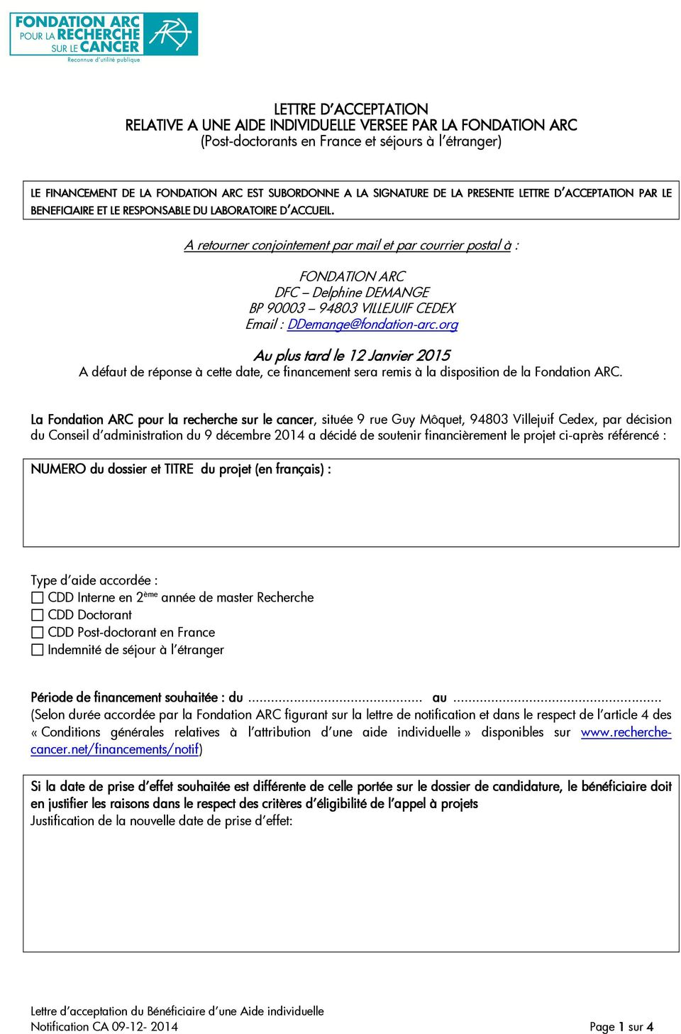 Lettre D Acceptation Relative A Une Aide Individuelle Versee