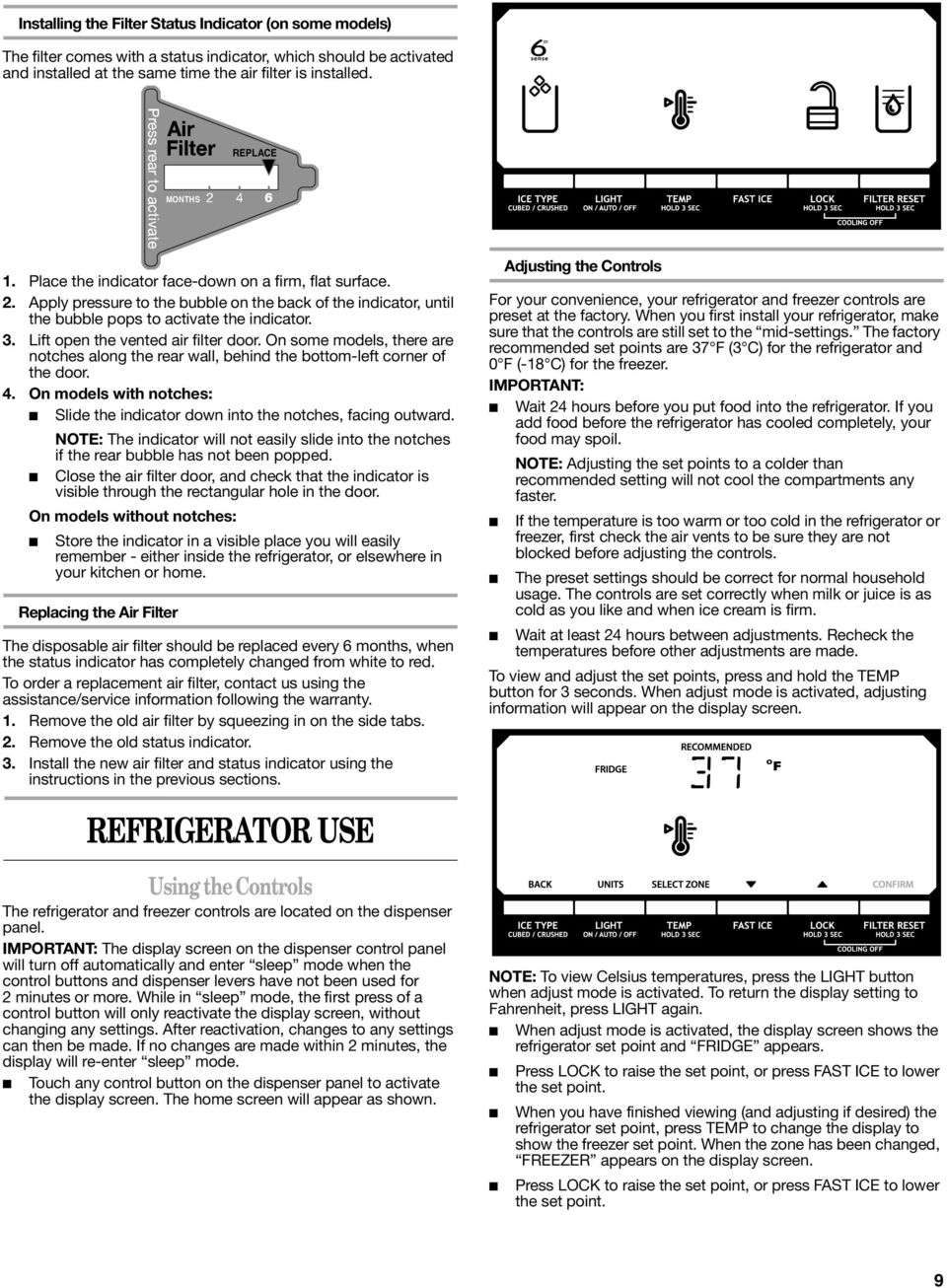REFRIGERATOR USER INSTRUCTIONS - PDF