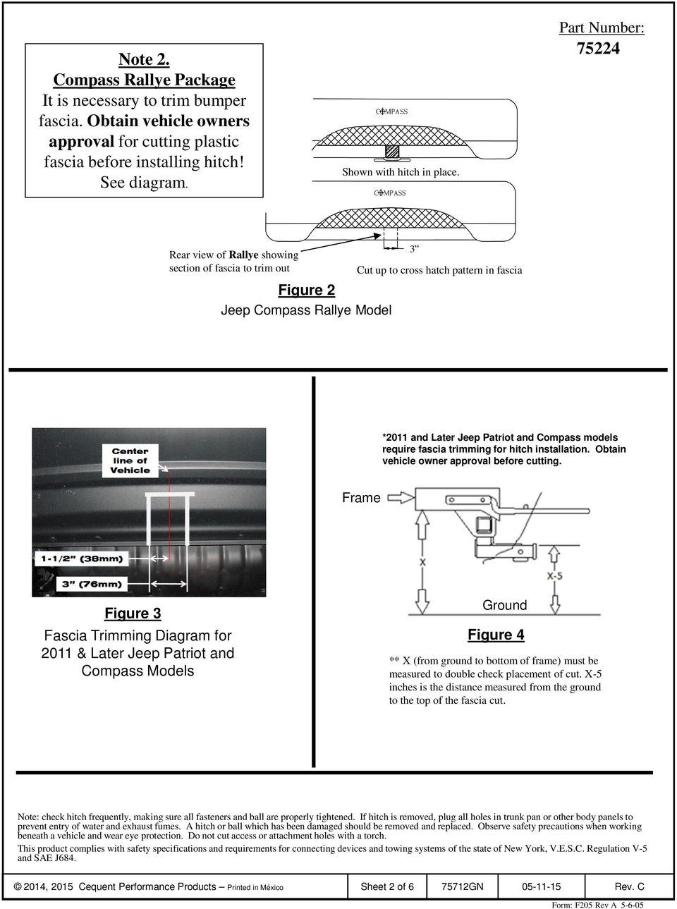 Installation Instructions Jeep Compass Inc Rallye Package Pdf Diagram 1 Black Is In Check 2 Double Fascia Trimming For Hitch Obtain Vehicle Owner Approval Before Cutting