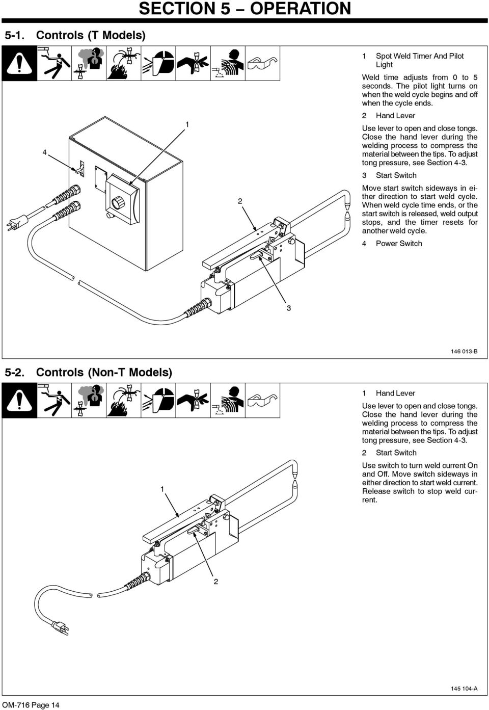 Msw 41 41t Lmsw 52 And 52t Portable Resistance Diagram Of Welding Process 3 Start Switch Move Sideways In Either Direction To Weld Cycle
