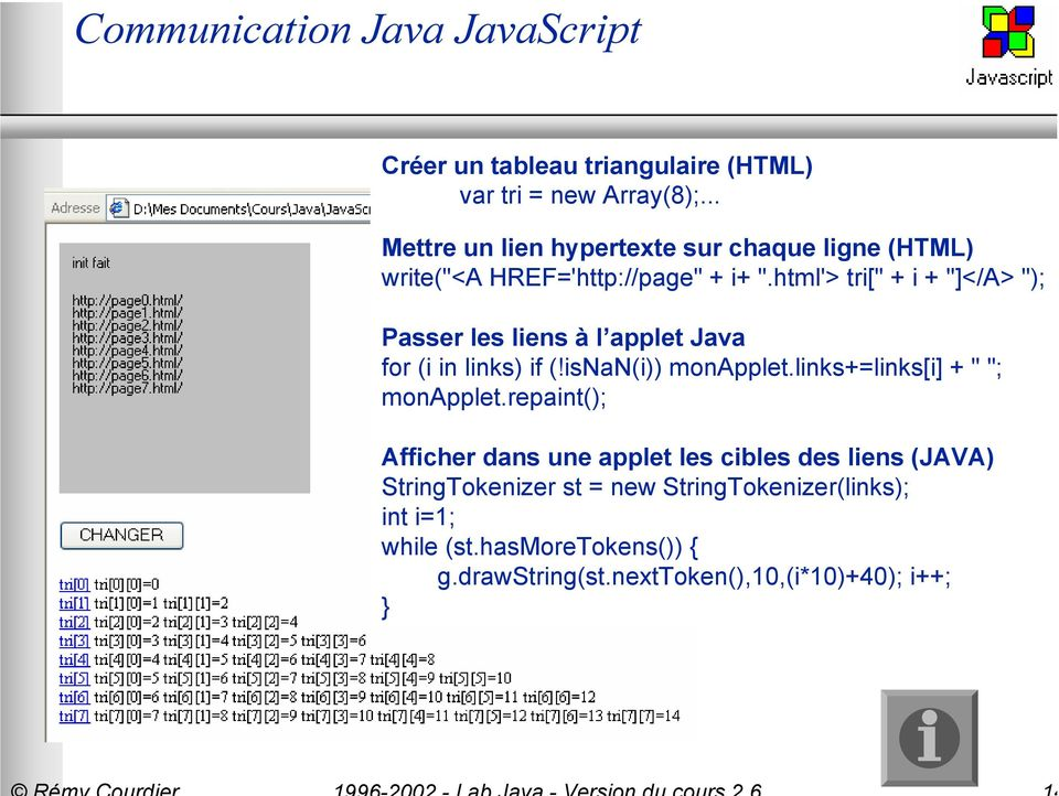 "html'> tri["" + i + ""]</A> ""); Passer les liens à l applet Java for (i in links) if (!isnan(i)) monapplet."