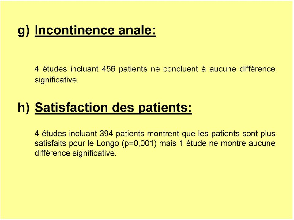 h) Satisfaction des patients: 4 études incluant 394 patients montrent