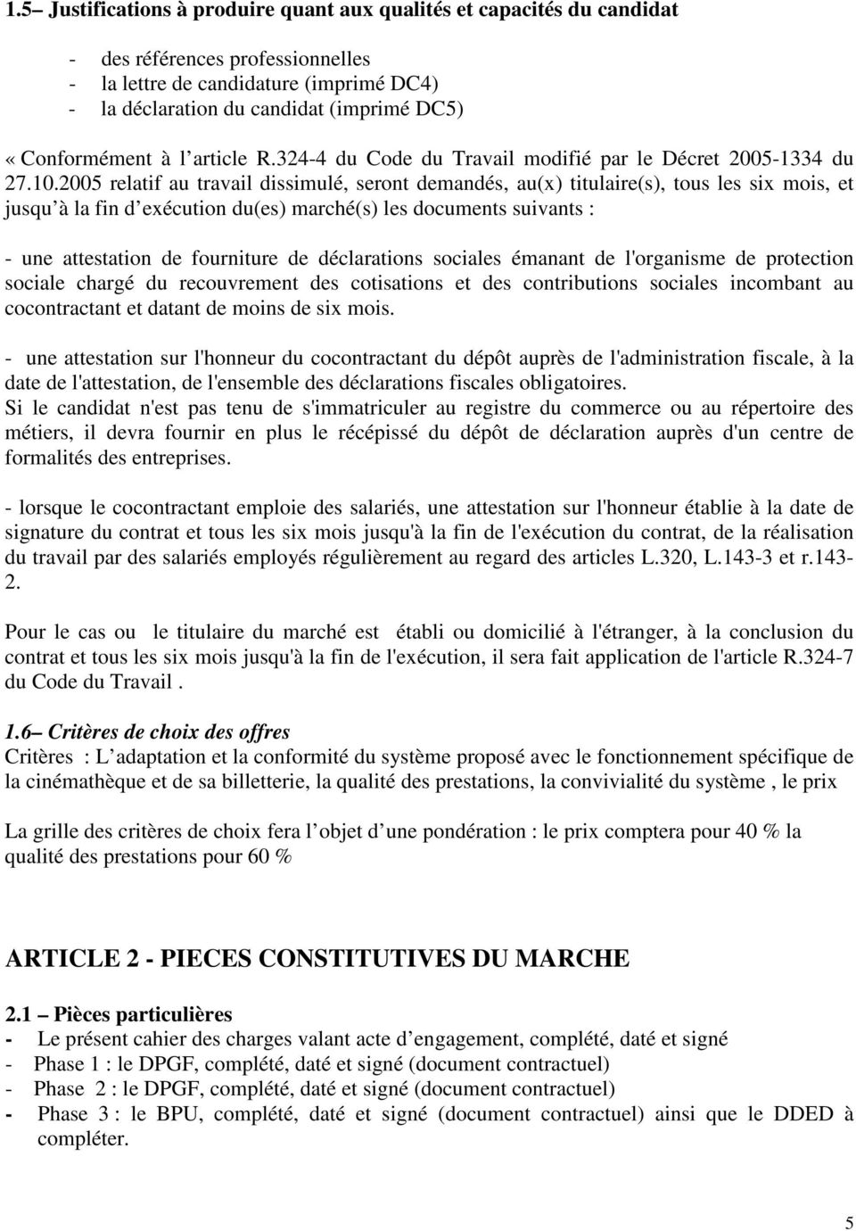 Cahier Des Charges Marche A Procedure Adaptee Pdf