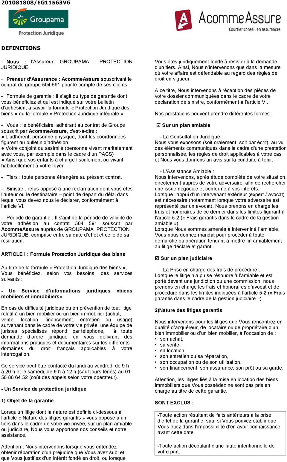 5f8ce52156746 PROTECTION JURIDIQUE «ScommeSerein». - CONTRAT n NOTICE D ...