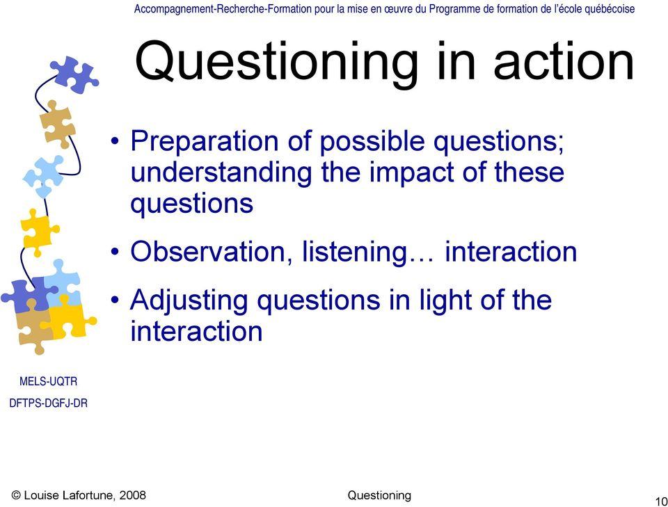 questions Observation, listening interaction