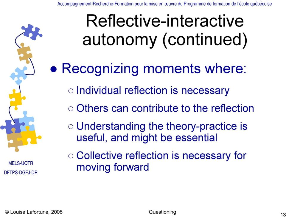 the reflection Understanding the theory-practice is useful, and