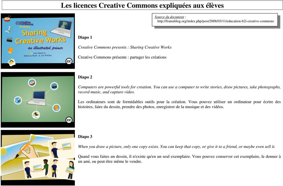 for creation. You can use a computer to write stories, draw pictures, take photographs, record music, and capture video. Les ordinateurs sont de formidables outils pour la création.