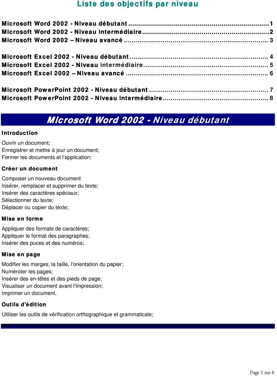 .. 8 Introduction Microsoft Word 2002 - Niveau débutant Ouvrir un document; Enregistrer et mettre à jour un document; Fermer les documents et l'application; Créer un document Composer un nouveau