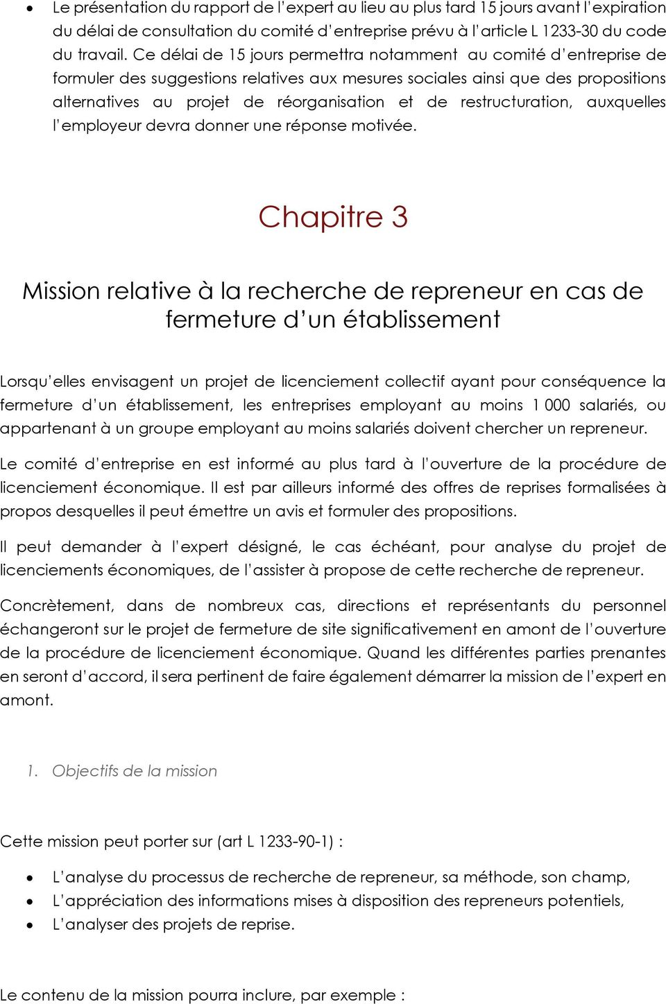 Mission Relative Au Licenciement Economique Pdf