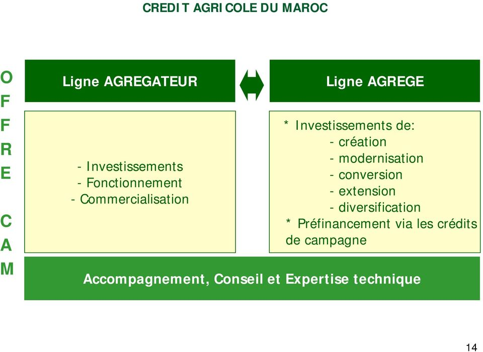 -création - modernisation -conversion -extension - diversification *