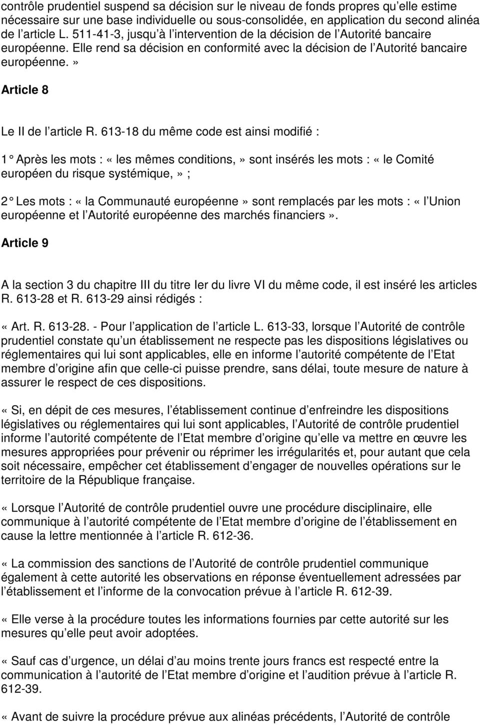 » Article 8 Le II de l article R.