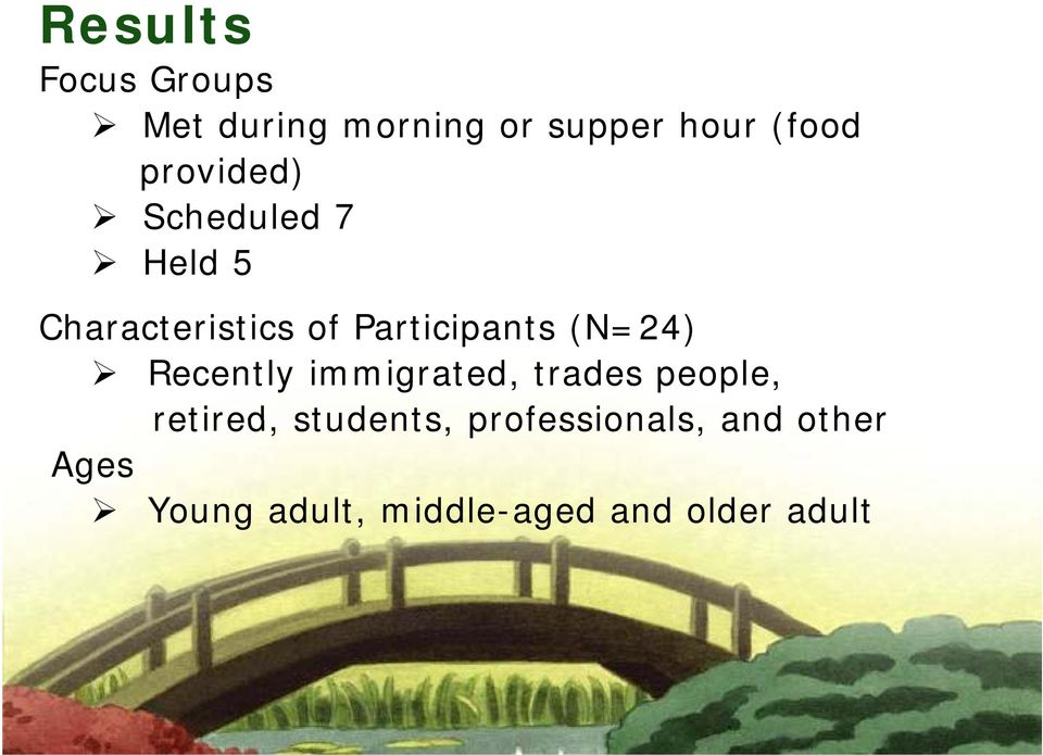 (N=24) Recently immigrated, trades people, retired, students,