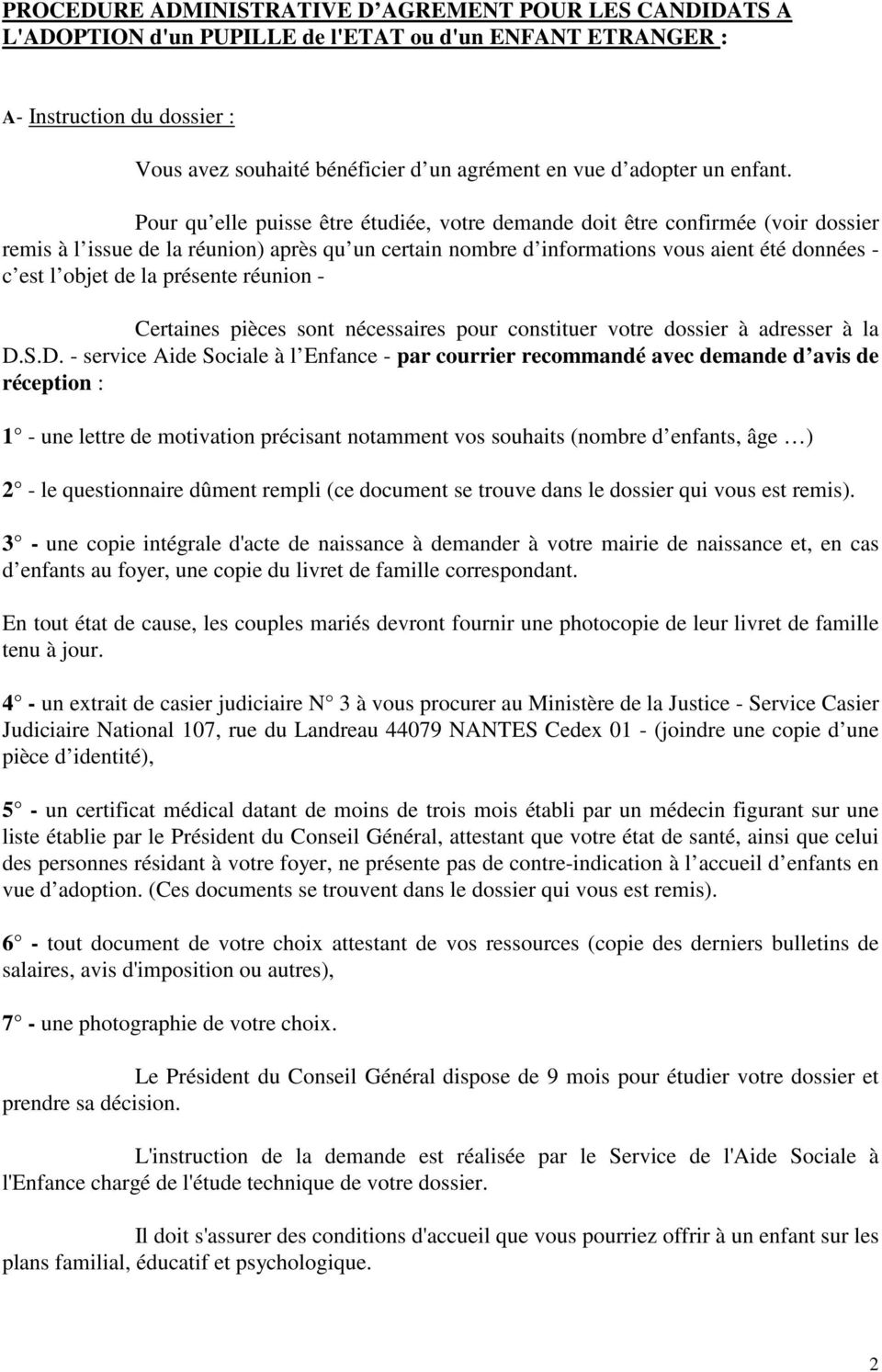 Note D Information Sur L Adoption Pdf Free Download