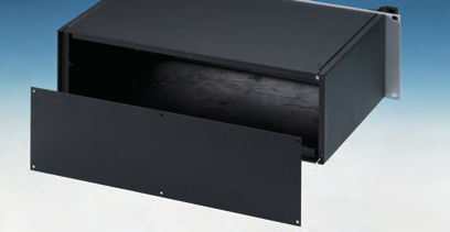 The base panel has mounting holes for a PCB or the accessory mounting plate. All parts are fitted with M4 earth studs for electrical continuity. The enclosures are supplied fully assembled.